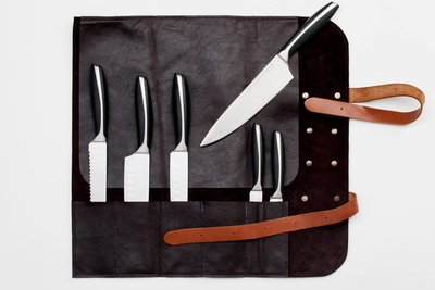 "Handmade leather knife roll ""Utah"" Black"